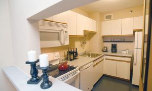 1-bedroom apartment kitchen at Park Place Towers in Hartford